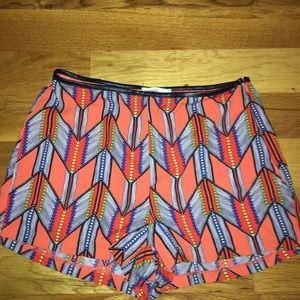 lush orange tribal print shorts leather trim